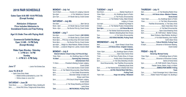 2019 Fair Schedule