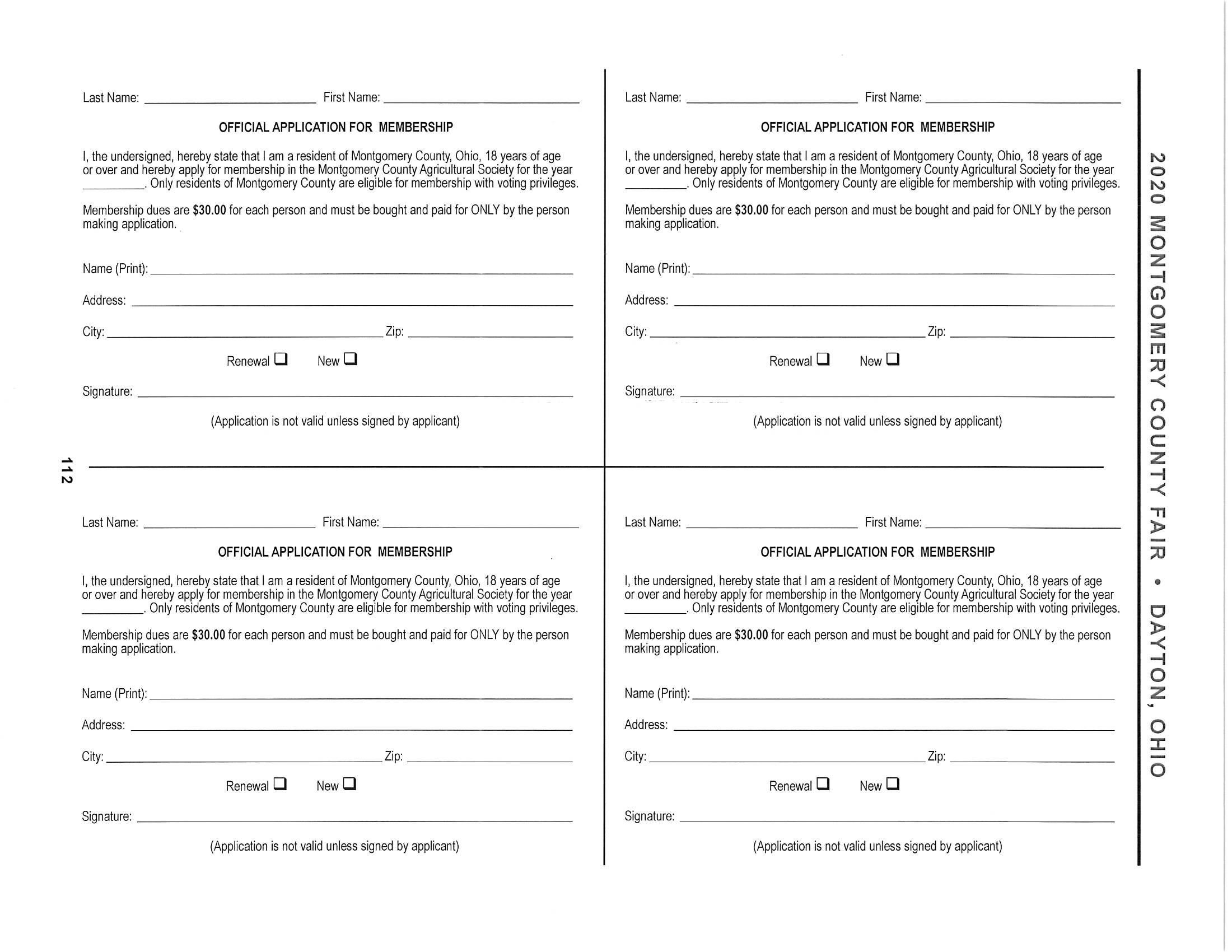 2020 Application for Membership